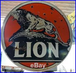 Lion Gasoline Porcelain Double Sided Gas Oil Vintage Collectable Man Cave Decor