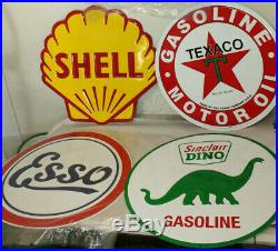 Lot of 4 24 Texaco Sinclair Esso & Other Gas Station Signs