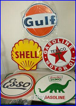 Lot of 5 24 Gulf Texaco Sinclair Gas Station Signs