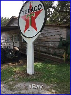 Metal And Porcelain texaco sign 72 Inch Diameter Built 3/12/1958 With A Pole 16