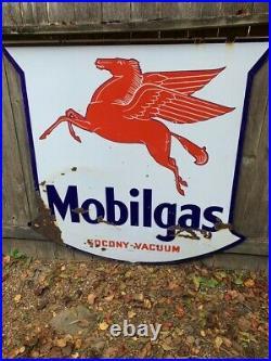 Mobil Mobilgas Large Porcelain Sign 56' Double Sided Original Texite Original