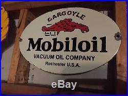 Mobil Oil Gargoyle vintage porcelain sign