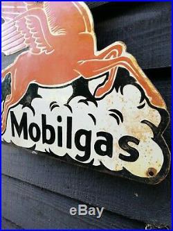 Mobil gas enamel sign Mobil Pegasus sign porcelain sign Vacuum Oil Petrol old