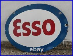 Nice 1940's Esso Exxon Enamel Porcelain Sign 27.5'' X 20'