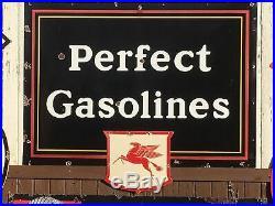 OLD ORIGINAL Vintage WADHAMS Mobil PEGASUS SHIELD Sign PORCELAIN Gas Oil SSP