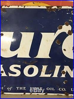 ORIGINAL 1920's 30's Vintage PUROL PORCELAIN Auto TIRE SHOP Gas Oil SIGN OLD