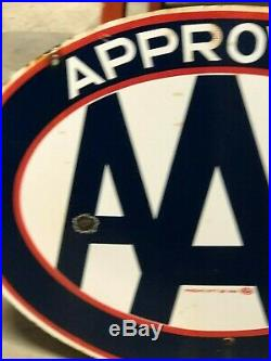 ORIGINAL VinTagE AAA APPROVED Sign PORCELAIN 2 Sided Gas Oil Store OLD Mancave