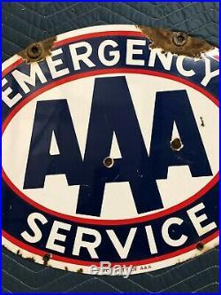 ORIGINAL VinTagE AAA EMERGENCY SERVICE Sign PORCELAIN 2 Sided Gas Oil OLD Decor