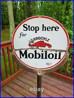 ORIGINAL rare Vintage Gargoyle LOLLIPOP Porcelain Sign curb gas motor oil auto