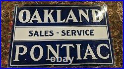 Oakland Pontiac Sales Service Original Porcelain Sign