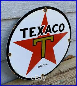 Old 1950's Texaco Porcelain Sign Gas Service Station Pump Plate Red Star