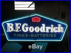 Old B. F. Goodrich Tires Batteries Porcelain Sign with Neon 60W x 26H SSPN