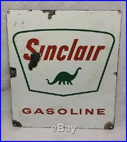 Old ORIGINAL Porcelain Sinclair Gasoline Pump Door Sign Advertising Gas Oil Dino