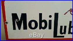 Old Porcelain Mobil Oil Lubrication Sign Pegasus Gasoline
