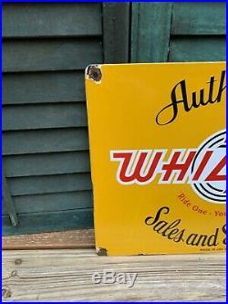 Old Vintage Whizzer Authorized Sales & Service Porcelain Motorcycle Dealer Sign