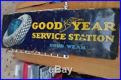Orig 1930s GOODYEAR SERVICE STATION Porcelain Enamel GAS STATION SIGN 6' x 2
