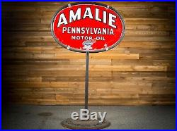 Original 1920's AMALIE MOTOR OIL Lollipop Porcelain Gas Oil Sign