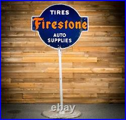 Original 1920's FIRESTONE TIRES Lollipop Porcelain Gas Oil Sign