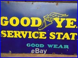 Original 1930's Good Year Tire Service Station Porcelain Sign 24 X 72 Antique