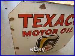 Original 1930's Texaco Golden Motor Oil Sign Double Sided Porcelain 30X30