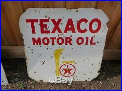 Original 1930s Vintage Sign Texaco Motor Oil Double Sided Porcelain 30x30