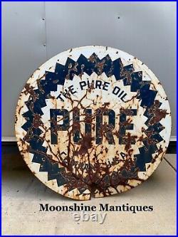 Original 1940s PURE GASOLINE Service Station Porcelain Sign Gas & Oil