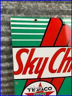 Original 1940s TEXACO SKY CHIEF Porcelain Gas Pump Plate Sign Gas & Oil