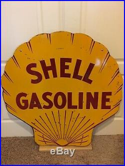 Original 42 1929 Double Sided Porcelain Shell Gasoline Sign Motor Oil Can
