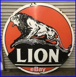 Original 6ft Double Sided Porcelain Lion Gas Station Pole Sign