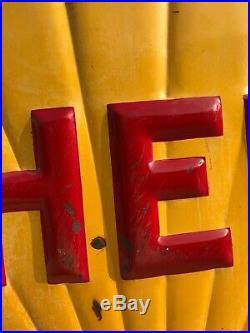 Original Antique 1938 Shell Emboss Porcelain Gas & Oil Advertising Sign 48