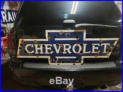 Original CHEVROLET Porcelain Dealership Sign Neon Gas Oil Car Truck 1940's GM