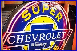 Original Chevrolet Service Porcelain Gas Oil Dealership NEON Sign