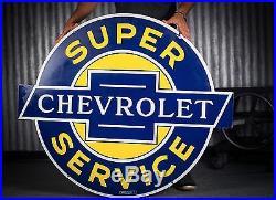 Original Chevrolet Service Porcelain Gas Oil Dealership Sign