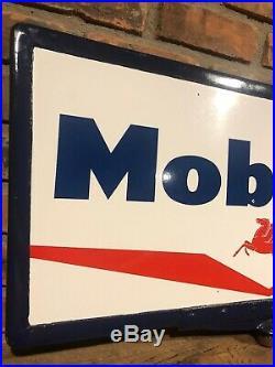 Original Double Sided Porcelain Mobiloil Gas Oil Pump Curb Station Sign