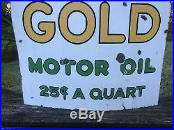 Original Double Sided Porcelain Penn Pepper Gasoline Old Gold Sign Ashland RARE