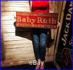 Original Early 28x10 Baby Ruth Non Porcelain Sign Cleared Babe Ruth Candy Tin