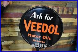 Original Flying A Tydol Veedol Porcelain Curb Lollipop Sign Gas Station Advert