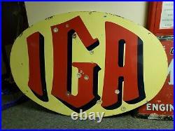 Original IGA porcelain sign