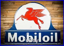 Original Mobil Keyhole Large Porcelain Gas Oil Sign