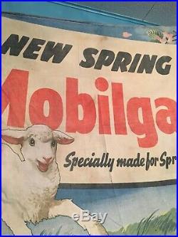 Original Mobil Mobiloil Mobilgas Banner Not Porcelain Sign Gas Oil Collectable