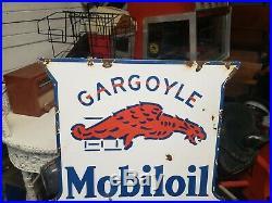 Original Mobil Oil Gargoyle Socony Porcelain Double Sided Sign Gas Oil Dealer