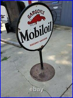 Original Mobiloil Gargoyle Porcelain Steel lollipop Sign Gasoline & Oil 54x30x23