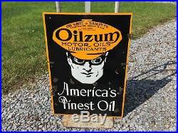 Original Oilzum Motor Oils Lubricants Porcelain Curb Sign
