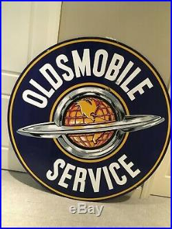 Original Oldsmobile Dealership Service Sign Porcelain Double Sided 60