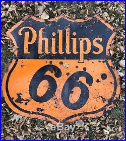 Original Phillips 66 30 Dbl Sided I Porcelain Sign Dated