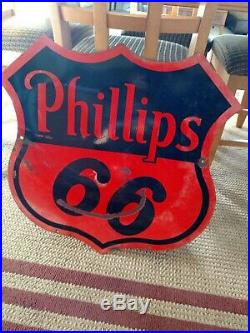 Original Phillips 66 Porcelain Double Sided Sign 30. SPS 55