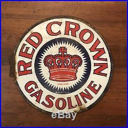 Original Porcelain Sign Red Crown Gas Oil Sign USA NOT A REPOP