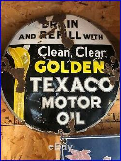 Original Porcelain Texaco 15 Circular Sign Gas Oil Collectable Man Cave