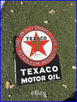 Original Porcelain Texaco Flange Sign