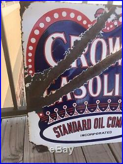 Original Red crown gasoline porcelain Flange sign Standard Oil Co vintage